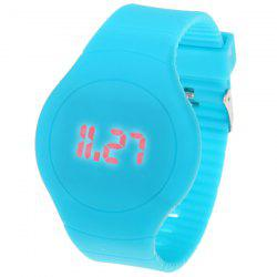 Rubber Band Touch-screen Sport Watches with Red Display Time Round Dial