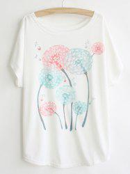 Casual Scoop Neck Dandelion Print Batwing Sleeve Women's T-shirt -