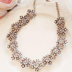Alloy Diamante Flower Necklace - AS THE PICTURE