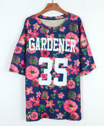 Floral Print Scoop Neck Casual Style Number Print Cotton Bat-Wing Sleeve Women's T-shirt -