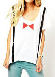 Casual Style Round Collar Short Sleeve Braces Bow-Tie Print Women's T-shirt -