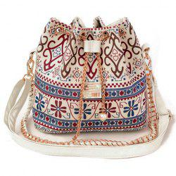 Bohemian Chains Print Bucket Shoulder Bag - WHITE