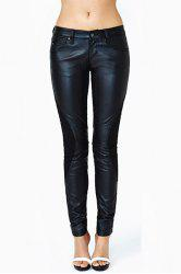 Fashionable Splicing Embellished Narrow Feet Fitted Black PU Leather Pants For Women -