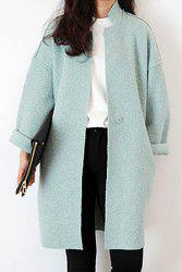 Refreshing Style Solid Color Worsted Stand Collar Women's Coat -