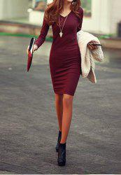 Solid Color Long Sleeve Simple Style V-Neck Cotton Packet Buttock Women's Dress - WINE RED