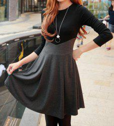 Ladylikle Round Collar Color Matching High Waist Long Sleeves Women's Dress -