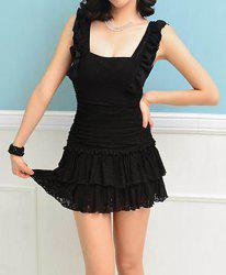 Flouncing Embellished Solid Color Lace Splicing Sleeveless Women's Dress -