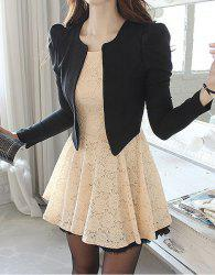 Ladylike Style Long Sleeve Round Collar Lace Zipper Women's Faux Twinset - AS THE PICTURE