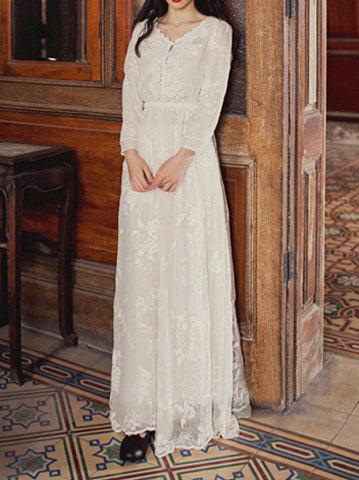Outfit Ladylike V-Neck Hollow Out Narrow Waist Long Sleeves White Women's Dress