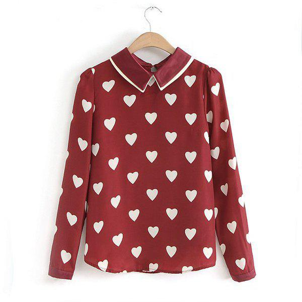Shop Stylish Turn-Down Collar Heart Embellished Long Sleeves Women's Blouse