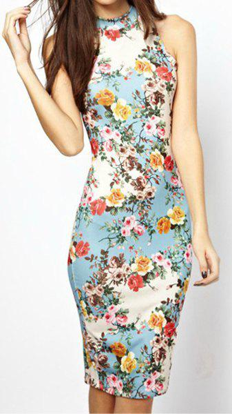 Hot Ladylike Round Collar Floral Print Sleeveless Women's Bodycon Dress