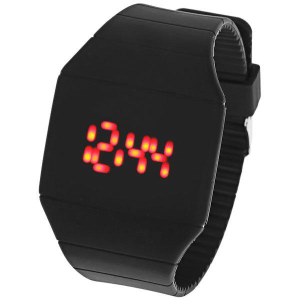 Rubber Touch Screen Sport Watches Red Display Time Rectangle Shape DESCRIPTION