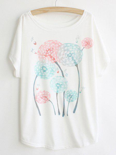 Latest Casual Scoop Neck Dandelion Print Batwing Sleeve Women's T-shirt