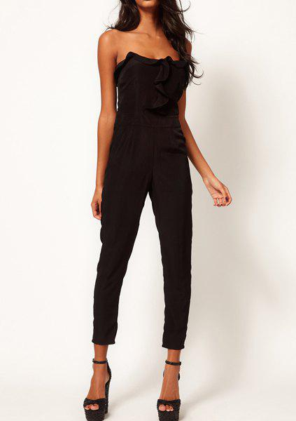 Online Sexy Flouncing Embellished Solid Color Women's Jumpsuits