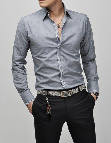 Slimming Lapel Striped Hem Long Sleeve Cotton Blend Mens Casual ShirtMEN<br><br>Size: M; Color: GRAY; Shirts Type: Casual Shirts; Material: Cotton,Polyester; Sleeve Length: Full; Collar: Turn-down Collar; Weight: 0.5000kg; Package Contents: 1 x Shirt;