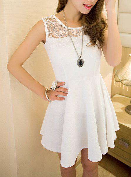 Unique Sweet Style Round Collar Sleeveless Solid Color Lace Splicing Women's Dress