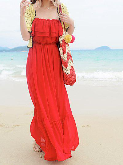 Outfit Bohemian Boat Neck Solid Color Flouncing Pleated Beam Waist Chiffon Women's Dress