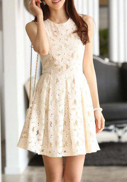 Trendy Sweet Solid Color Sleeveless Ladylike Women's Lace Dress