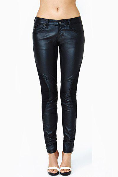 Affordable Fashionable Splicing Embellished Narrow Feet Fitted Black PU Leather Pants For Women