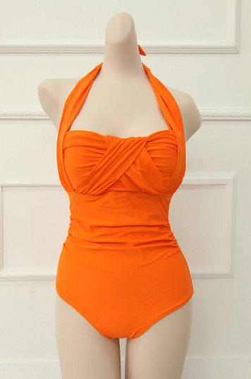 Orange Xl Vintage Halterneck Ruffled Criss Cross One Piece
