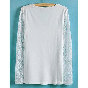 Lace Splicing Solid Color V-Neck Long Sleeve Ladylike Style Slimming Women's Blouse -
