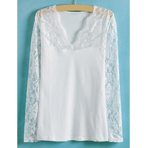 Lace Splicing Solid Color V-Neck Long Sleeve Ladylike Style Slimming Women's Blouse - White - S