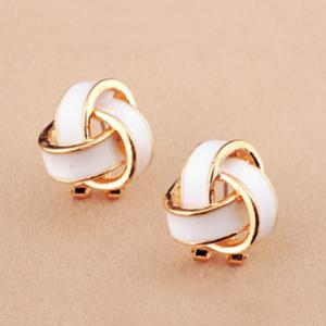 Pair of Retro Twisted Color Glazed Earrings For Women