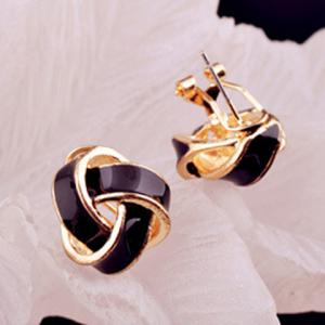 Pair of Retro Twisted Color Glazed Earrings For Women -
