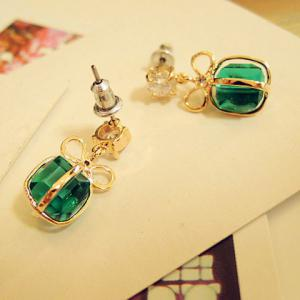 Pair of Bowknot Present Shape Rhinestone Pendant Earrings - AS THE PICTURE
