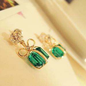 Pair of Bowknot Present Shape Rhinestone Pendant Earrings -
