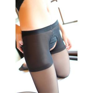 See-Through Sexy Style Cut Out Slimming Women's Pantyhose - Black - One Size