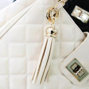 Elegant Checked and Tassels Design Women's Shoulder Bag - WHITE