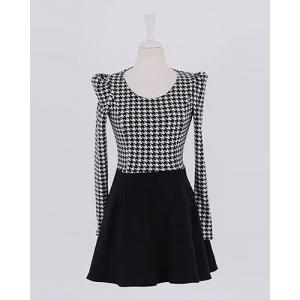 Cute Scoop Neck Long Sleeve Houndstooth Ruffle Dress For Women -