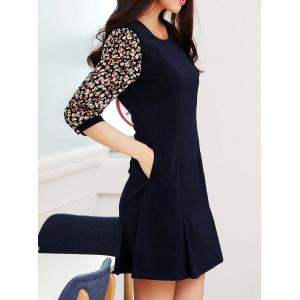 Chic Style Round Collar Ruffled Tiny Floral Print 3/4 Sleeves Women's Dress -