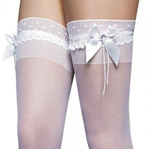 Sexy Bow Tie Embellished Translucent Solid Color Women's Silk Stockings - WHITE ONE SIZE