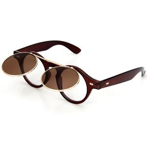 Double Layer Flip Lens Design Sunglasses with Brown Frame -