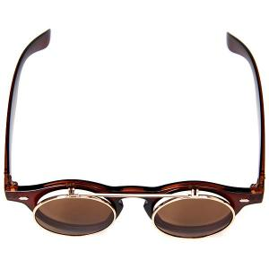 Double Layer Flip Lens Design Sunglasses with Brown Frame - BROWN