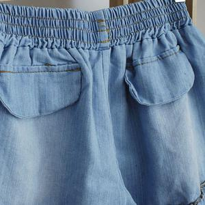 Splicing Stringy Selvedge Drawstring Scalloped Denim Shorts -