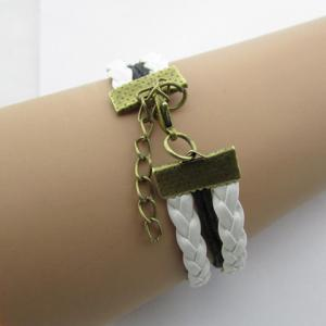 Vintage Night Owl Multilayered Faux Leather Bracelet - WHITE
