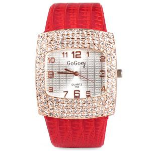 Stylish Quartz Watch with Diamonds Analog Indicate Leather Watch Band for Women -