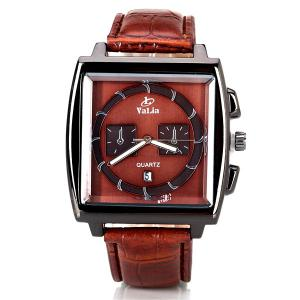 Popular Quartz Watch with Date Analog Indicate Leather Watchband for Men -