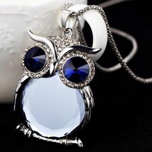 Faux Crystal Night Owl Sweater Chain - BLUE
