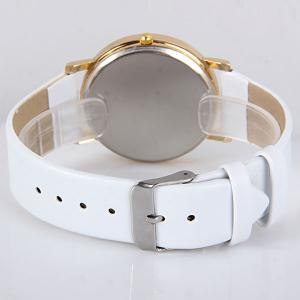 Stylish Quartz Watch with Map Analog Indicate Leather Watch Band for Women -
