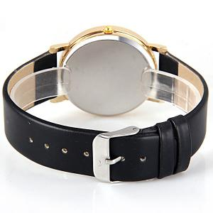 Stylish Quartz Watch with Map Analog Indicate Leather Watch Band for Women - BLACK