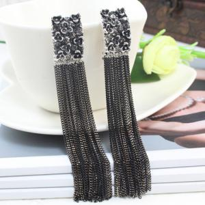 Pair of Vintage Diamante Chain Fringed Pendant Alloy Earrings -