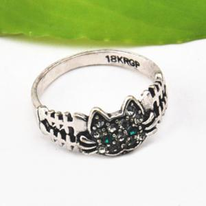 Cute Solid Color Rhinestone Inlaid Cat Ring For Women -