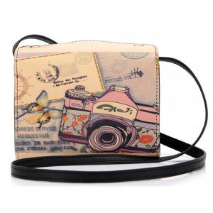 Sweet Camera Print and PU Leather Design Women's Crossbody Bag -