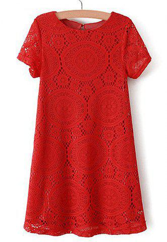 Latest Elegant Scoop Neck Openwork Short Sleeve Lace Dress For Women