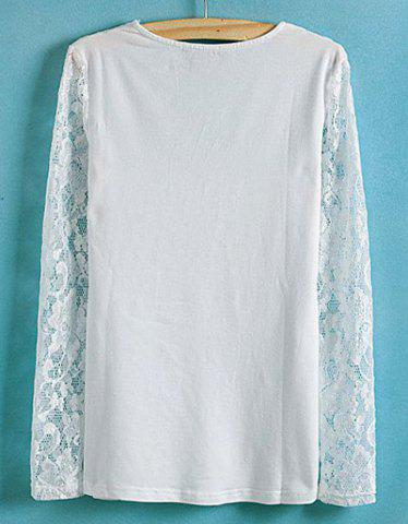 New Lace Splicing Solid Color V-Neck Long Sleeve Ladylike Style Slimming Women's Blouse - S WHITE Mobile