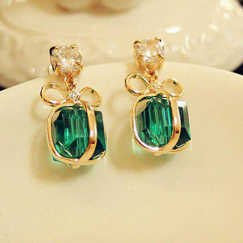 Shops Pair of Bowknot Present Shape Rhinestone Pendant Earrings